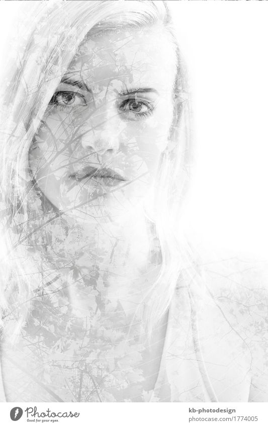Young girl with leaves, double exposure, black and white Frau Jugendliche Junge Frau 18-30 Jahre Erwachsene Gefühle blond
