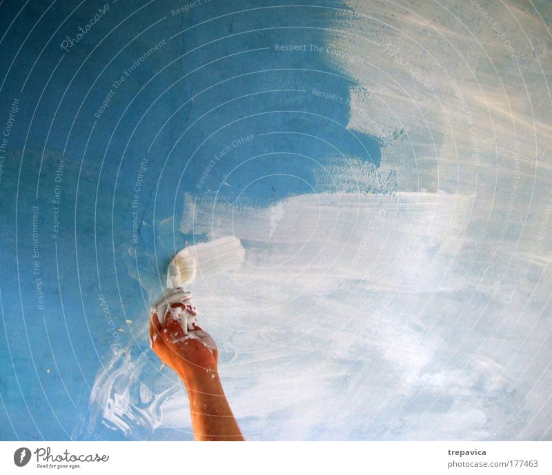 farbe I Farbfoto maskulin Arme Hand Finger Haus Mauer Wand Arbeit & Erwerbstätigkeit blau weiß Freude Lebensfreude Farbe innovativ
