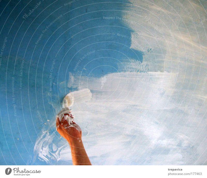 farbe I Hand weiß blau Freude Haus Farbe Arbeit & Erwerbstätigkeit Wand Mauer Arme maskulin Finger Lebensfreude innovativ