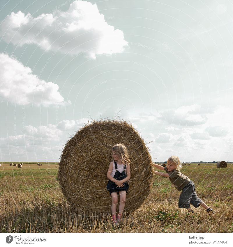 papa was a rolling stone Mensch Kind Natur Landwirtschaft Mädchen Leben Junge Spielen Bewegung lachen Sommer Wärme Landschaft Feld Lifestyle lernen