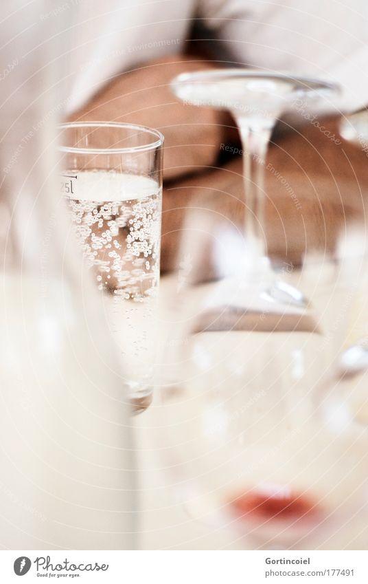 Glasig Getränk trinken Erfrischungsgetränk Trinkwasser Karaffen Mineralwasser sprudelnd Weinglas Wasserglas Mann Erwachsene glänzend hell weiß genießen Gast