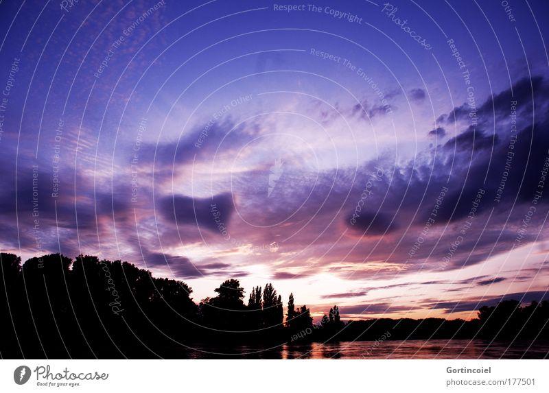 Rheinische Nacht Natur Wasser schön Himmel weiß Baum rot Sommer schwarz Wolken dunkel Landschaft Luft hell Stimmung rosa