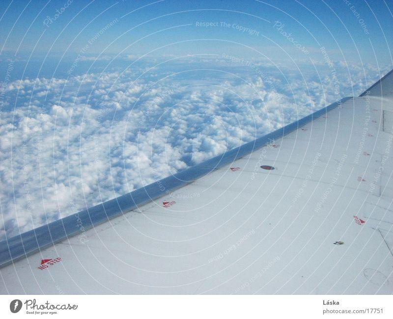 Wolken Flugzeug unterwegs Himmel