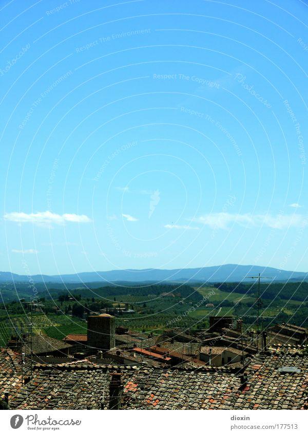 Die Dächer von San Gimignano Natur Himmel Sonne Sommer Ferien & Urlaub & Reisen ruhig Haus Wolken Ferne Erholung Freiheit Landschaft Wetter Ausflug Tourismus Aussicht