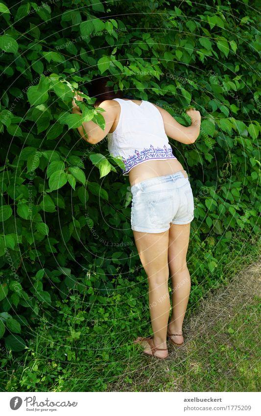 Frau auf der Suche nach etwas in den Büschen Lifestyle Freizeit & Hobby Spielen Mensch feminin Mädchen Junge Frau Jugendliche Erwachsene 1 18-30 Jahre Natur