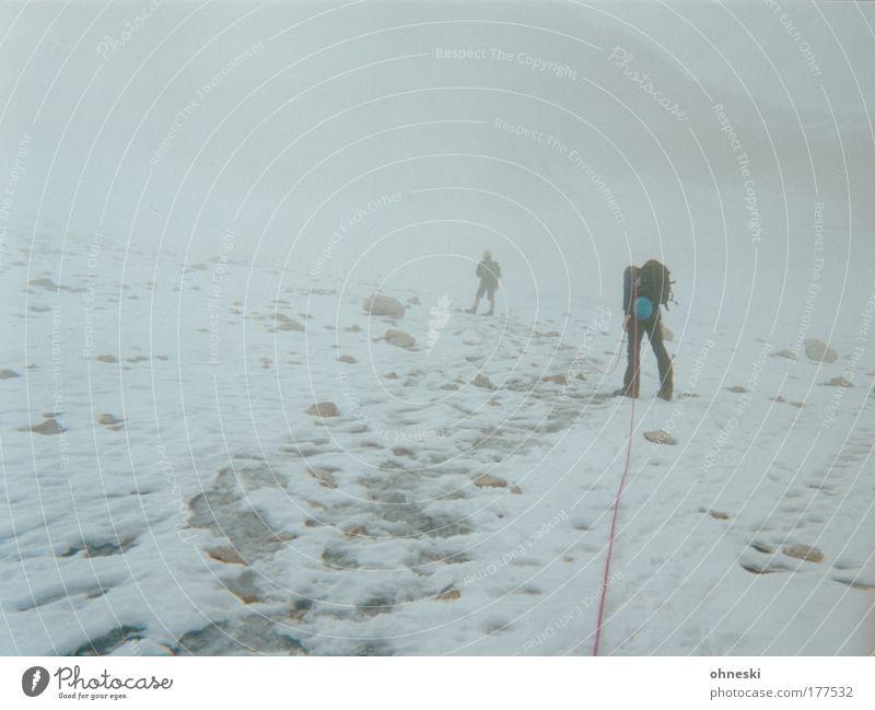 Gipfelstürmer Mensch weiß Winter Ferne Schnee Berge u. Gebirge Freiheit grau Eis Rücken Nebel wandern maskulin Abenteuer Seil Frost