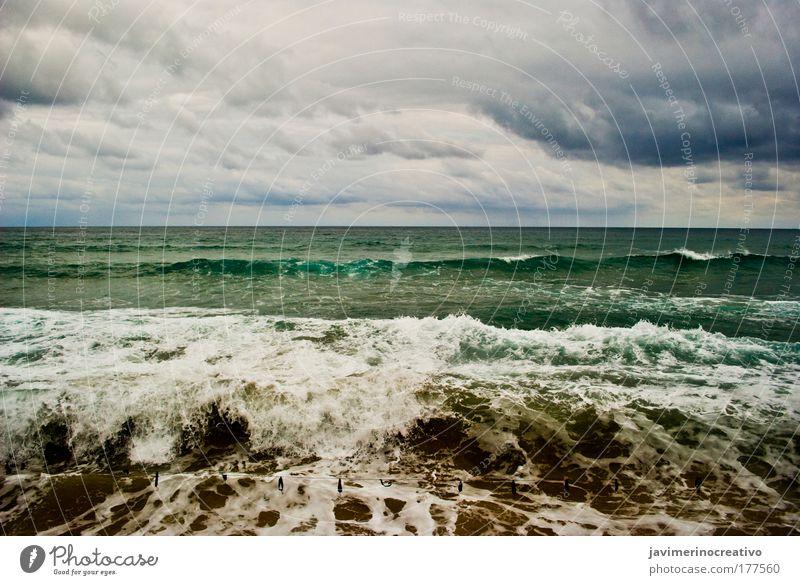 Wasser Meer blau Ferien & Urlaub & Reisen Wolken Sand Wellen Küste frisch Tourismus Sturm natürlich Strand Sandstrand