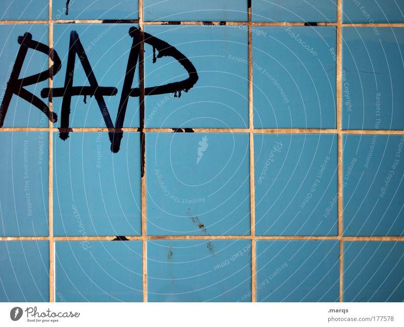 Oldschool blau Graffiti Stil Musik Tanzen dreckig Fassade Schriftzeichen Coolness Lifestyle retro Kultur schreiben Fliesen u. Kacheln Straßenkunst Subkultur