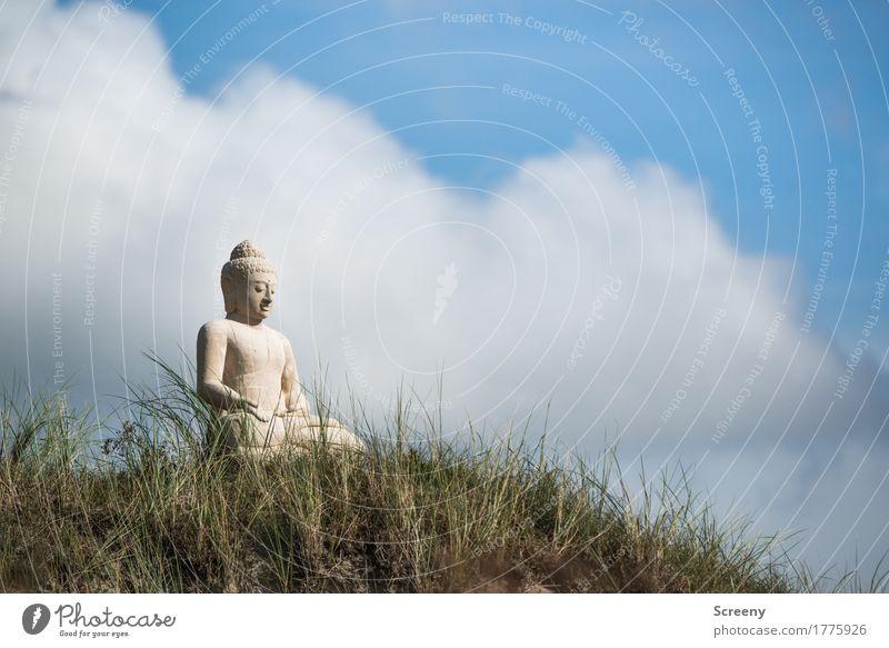 Gelassenheit Erholung ruhig Meditation Ferien & Urlaub & Reisen Tourismus Sommer Natur Himmel Wolken Schönes Wetter Gras Nordsee Insel Norderney Düne sitzen
