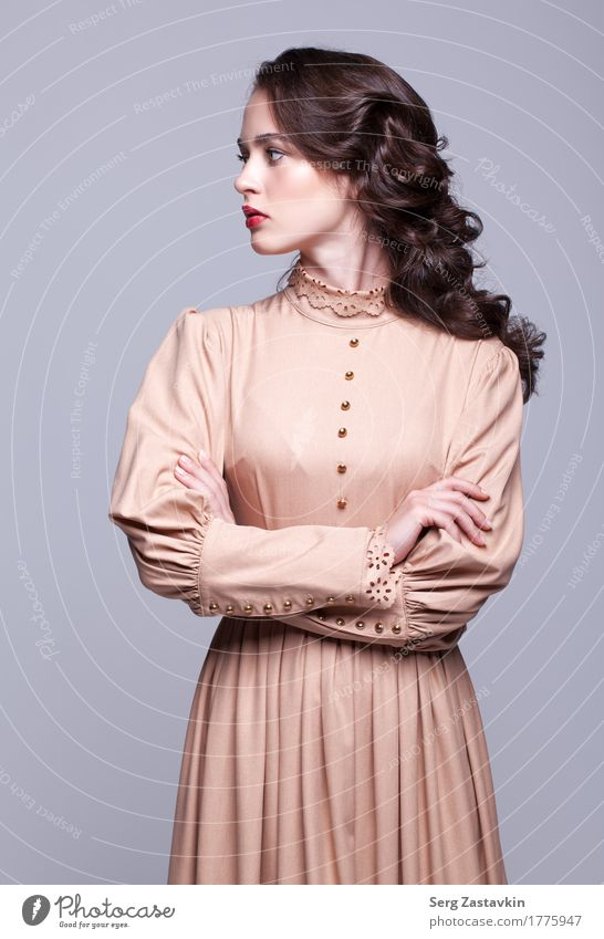 Frau Farbe grün schön weiß Hand Mädchen Gesicht Erwachsene Stil grau Mode elegant retro Haut Sauberkeit