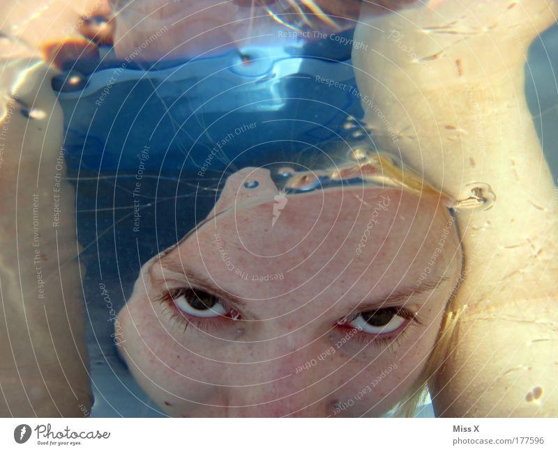 Tauchen Farbfoto mehrfarbig Nahaufnahme Detailaufnahme Unterwasseraufnahme Reflexion & Spiegelung Sonnenlicht Blick Blick in die Kamera Schwimmen & Baden