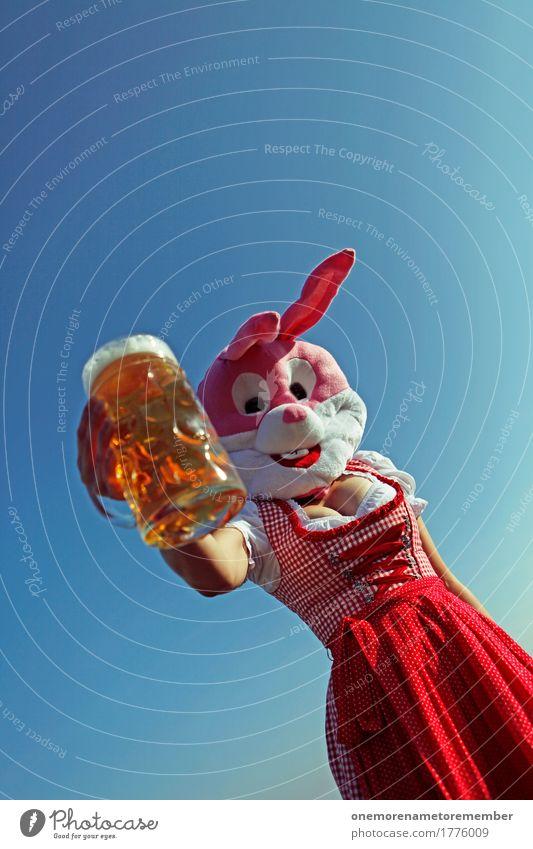 Oktoberfest - Zapft is! Lebensmittel Lifestyle Kunst ästhetisch Bier Biergarten Bierglas Bierschaum Bierkrug Trachtenkleid rot Kleid Bayern Hase & Kaninchen