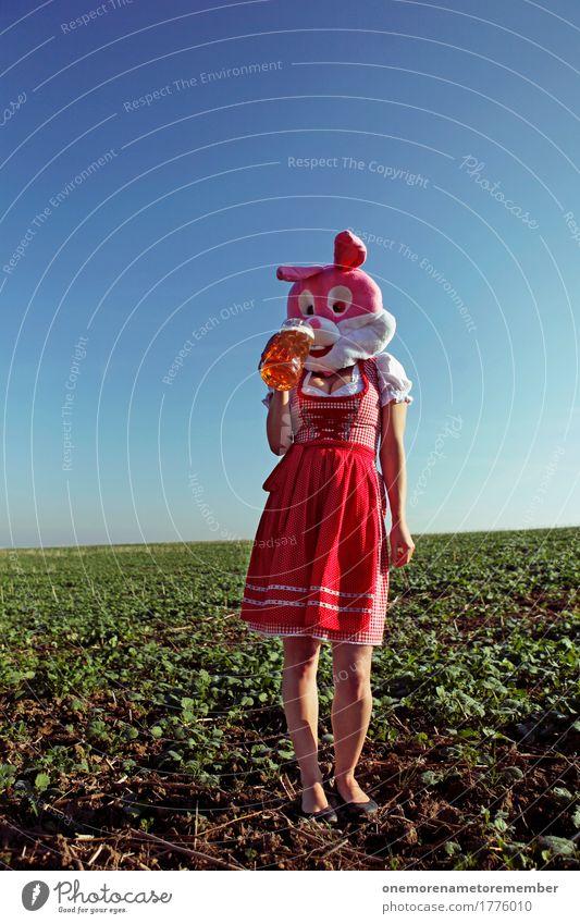 Oktoberfest - Schlürf Sommer rot feminin Kunst ästhetisch Getränk trinken lecker Kleid Körperhaltung Bier Karneval Erfrischung Kostüm Alkohol Kunstwerk