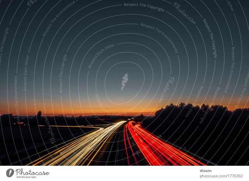 Tempolimit [1] Sonnenaufgang Sonnenuntergang Sonnenlicht Verkehr Verkehrswege Berufsverkehr Straßenverkehr Autofahren Autobahn PKW Ferien & Urlaub & Reisen