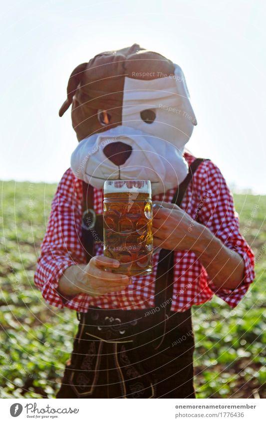 Oktoberfest - got one Hund Kunst maskulin ästhetisch festhalten Bier München Tradition Hemd Bayern kariert Kunstwerk Tracht Biergarten Bierkrug
