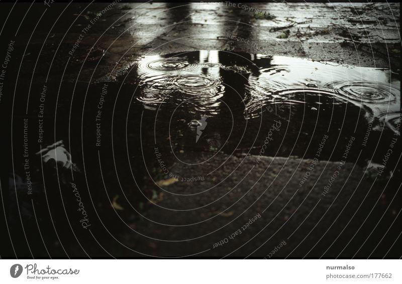 Tropfentraurigkeit Abend Dämmerung Silhouette Reflexion & Spiegelung Low Key Kunst Umwelt Wasser Wassertropfen Sommer schlechtes Wetter Regen Platz Hof