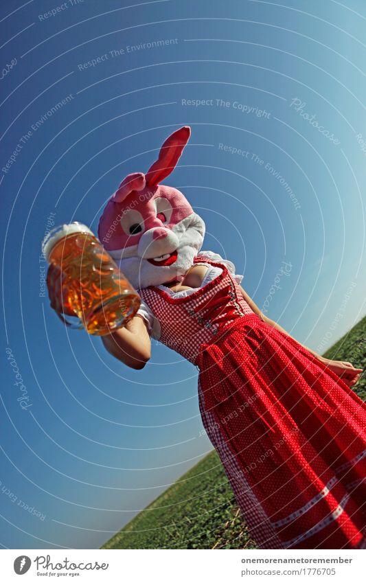 Oktoberfest - Auf Sie! Kunst Kunstwerk ästhetisch Hase & Kaninchen Hasenzahn Hasenohren Trachtenkleid Bayern Tradition Bier Zuprosten Biergarten Bierglas