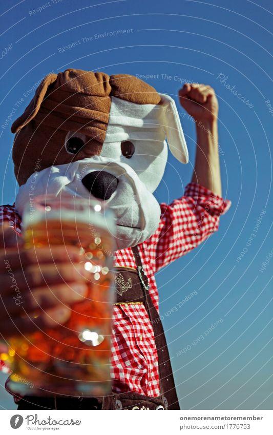 Oktoberfest - Biiier! Lebensmittel Getränk ästhetisch Tradition Tracht Lederhose Hund Mann Kostüm Bier Biergarten Bierglas Bierschaum Bierkrug kariert maskulin