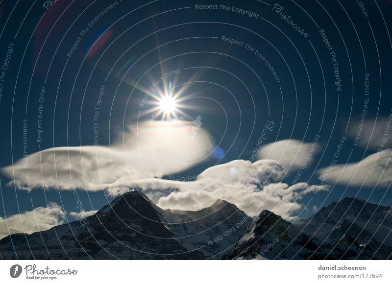 Berner Oberland Himmel Natur Ferien & Urlaub & Reisen Wolken Berge u. Gebirge Landschaft groß Klima Alpen Schweiz Gipfel Schönes Wetter Schneebedeckte Gipfel