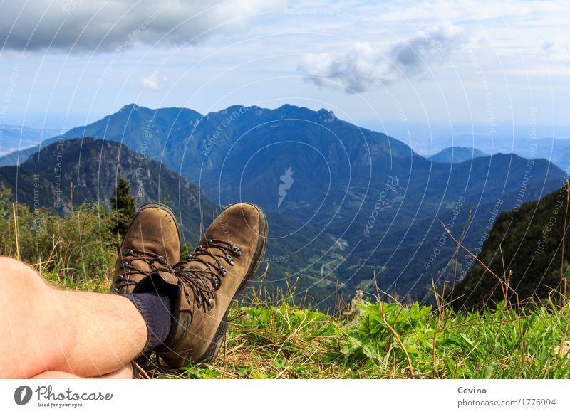 Pause Lifestyle Berge u. Gebirge wandern Natur Landschaft Pflanze Tier Himmel Sommer Schönes Wetter Gras Alpen atmen Erholung Zufriedenheit Lebensfreude