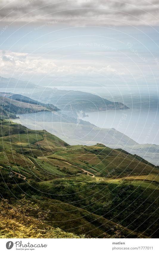 baskische Küste Natur Landschaft Pflanze Himmel Wolken Horizont Sommer Schönes Wetter Gras Sträucher Wiese Hügel Felsen Bucht Meer blau braun grau grün