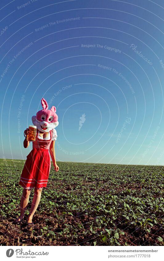 Oktoberfest - Bierhase Kunst ästhetisch Biergarten Bierglas Bierschaum Bierkrug Tracht Trachtenkleid Tradition rot Kleid rosa Hase & Kaninchen Landschaft laufen