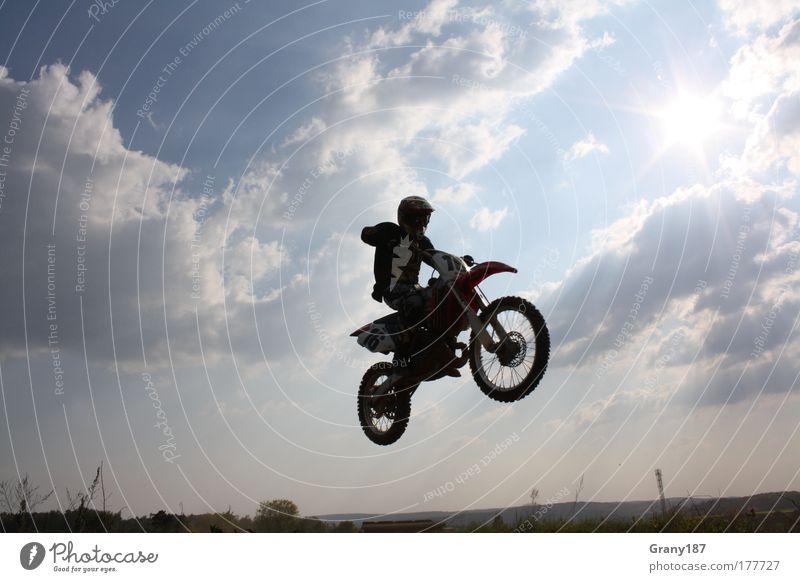 Cross Sequenz 2 Mensch Mann Jugendliche blau Sport Gefühle Stil Glück Erwachsene maskulin fliegen Lifestyle fahren Motorrad Motorsport Junger Mann