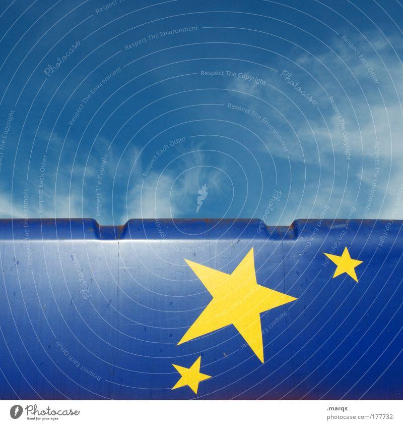 Sternenhimmel Himmel blau gelb Geburtstag glänzend Fahne einzigartig außergewöhnlich leuchten Zeichen Weltall Schönes Wetter Europafahne