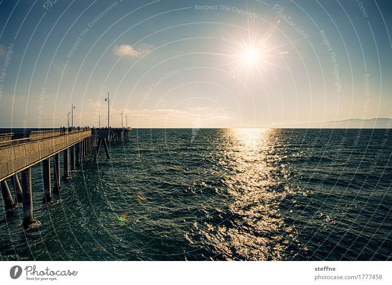summertime Himmel Sonne Sonnenlicht Sommer Schönes Wetter Wärme Meer Ferien & Urlaub & Reisen Los Angeles venice beach Anlegestelle Pazifik Kalifornien Wellen