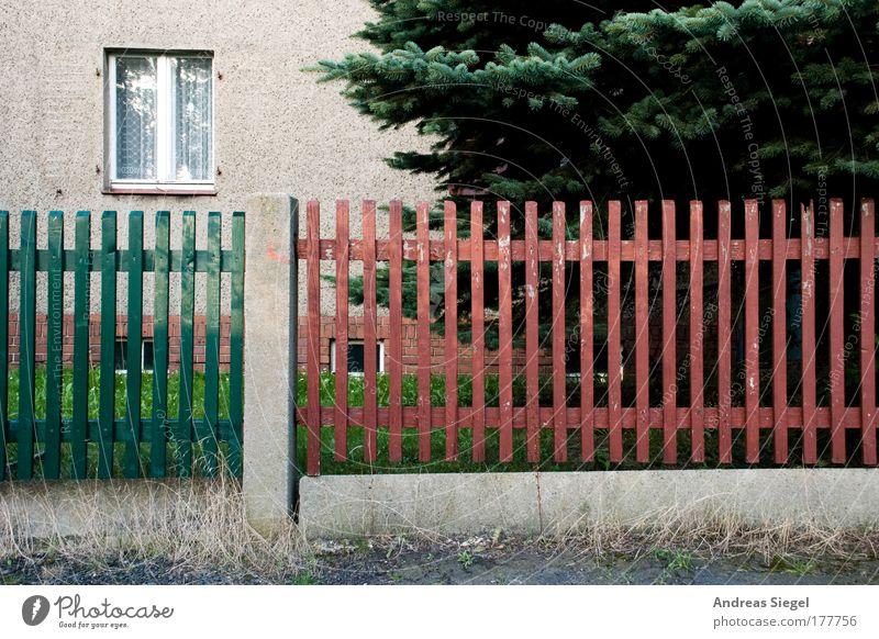 Das Fenster zum Zaun Farbfoto Gedeckte Farben Außenaufnahme Menschenleer Tag Kontrast Häusliches Leben Wohnung Haus Baum Tanne Dorf Kleinstadt Einfamilienhaus