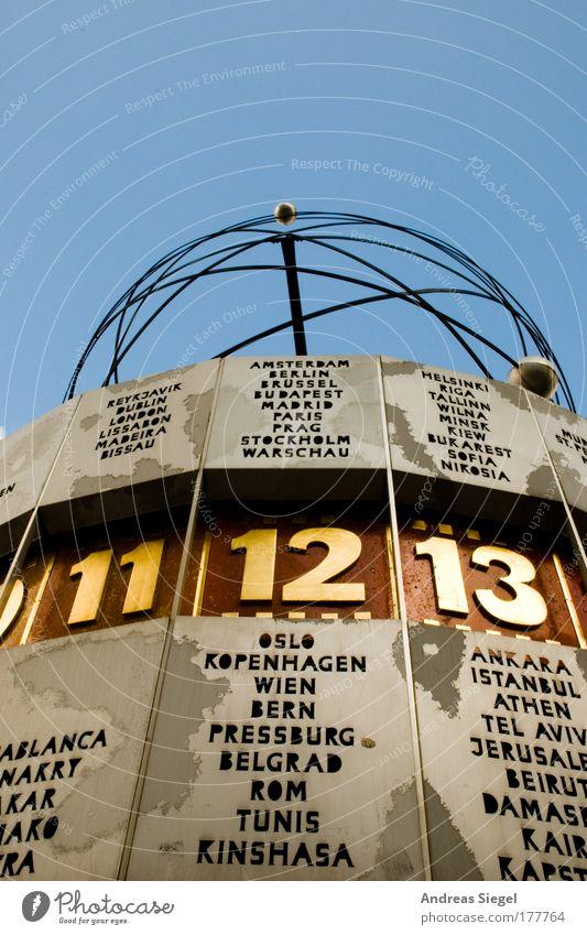 Es ist soweit! blau Berlin Architektur grau Stil Kunst Zeit gold Platz Design modern Uhr Schriftzeichen außergewöhnlich Ziffern & Zahlen Kultur
