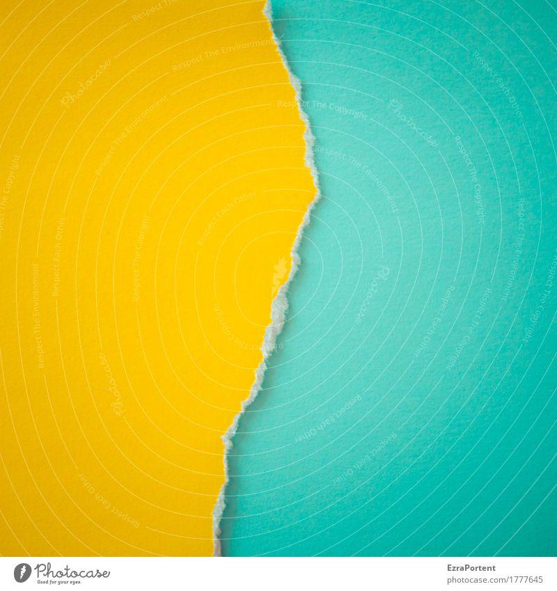 G~T Zeichen Schilder & Markierungen Linie Streifen ästhetisch hell blau gelb türkis Design Farbe Werbung Zerstörung Zusammenhalt Papier Riss gerissen Zerreißen