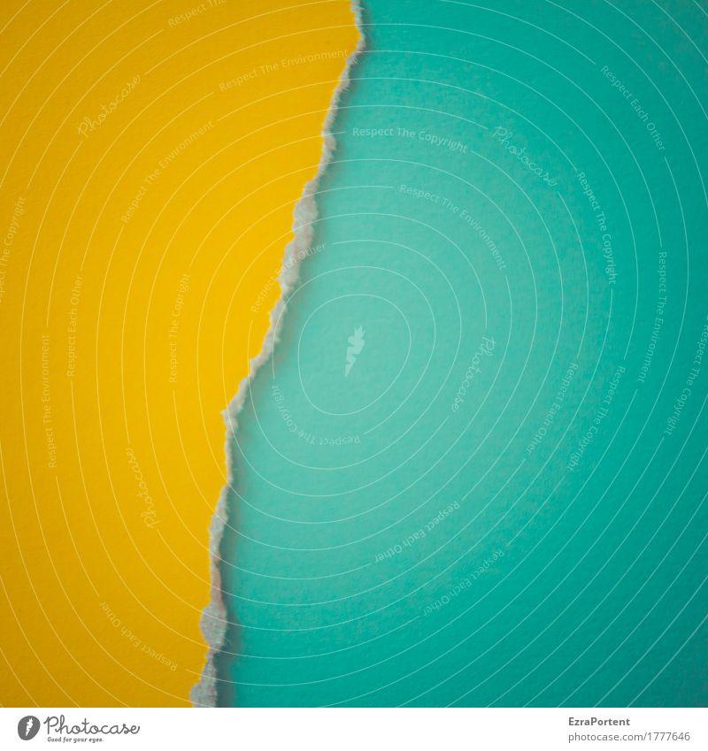 g~T elegant Stil Design Dekoration & Verzierung Papier Linie Streifen hell blau gelb türkis Farbe Werbung Trennung Trennlinie Riss kaputt gerissen