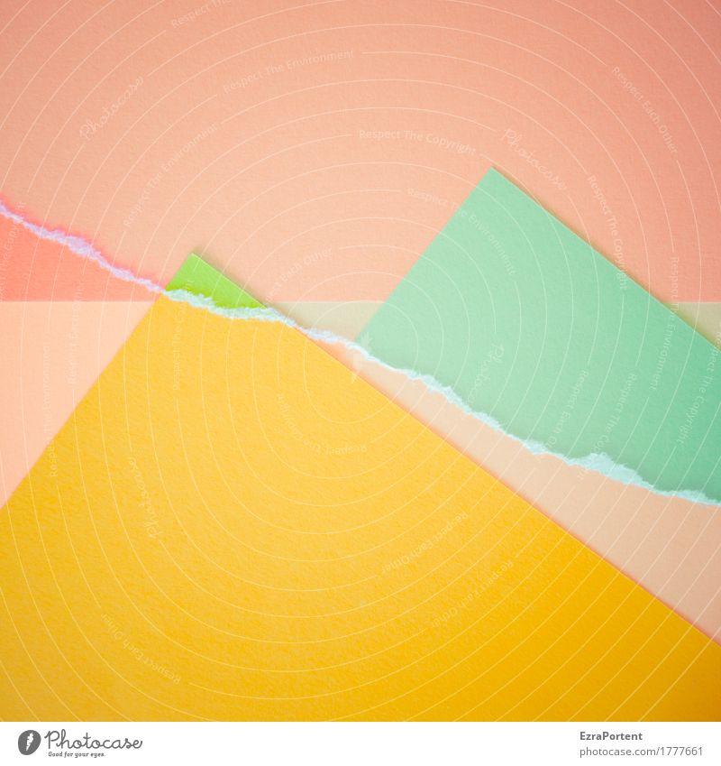 -/\~/\- elegant Stil Design Dekoration & Verzierung Kunst Papier Zeichen Linie hell gelb grün rosa türkis ästhetisch Farbe Werbung Berge u. Gebirge Horizont