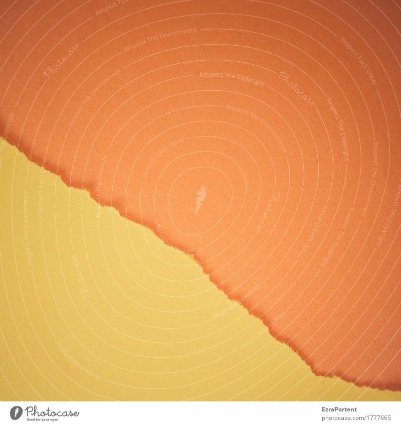 g~O Stil Design Dekoration & Verzierung Papier Linie Streifen gelb orange Farbe Werbung Riss Trennung Trennlinie gerissen kaputt Grafik u. Illustration