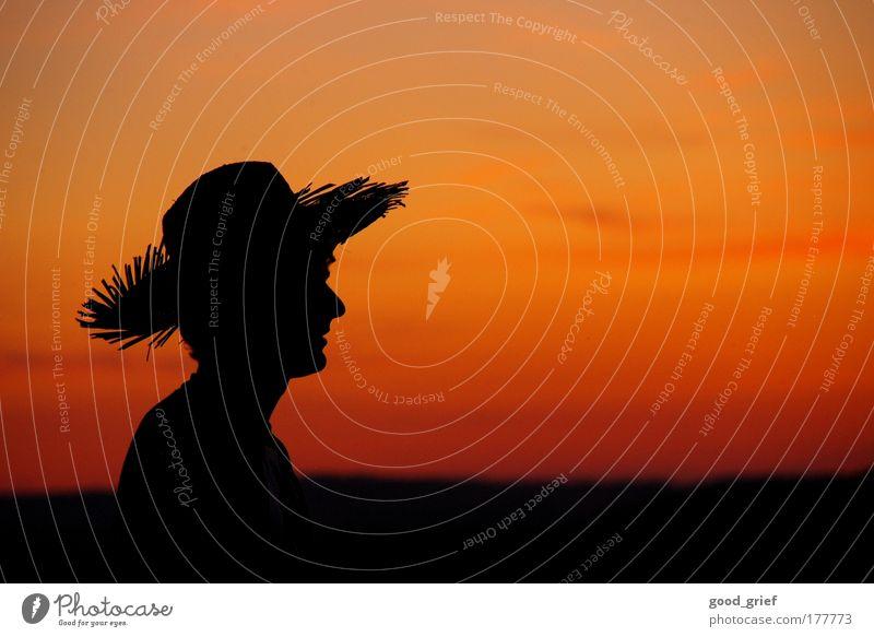 die aussicht genießen Mensch Himmel Mann Natur Jugendliche Freude Wolken Landschaft Gefühle Kopf Stimmung Erwachsene Nase maskulin Hut Abenddämmerung