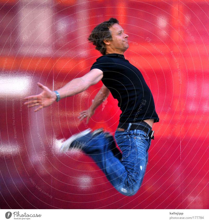 urban himberry Mensch Jugendliche Unschärfe Freude Erwachsene Fenster Leben Glück springen Stil Feste & Feiern Gesundheit Zufriedenheit rosa Fassade maskulin