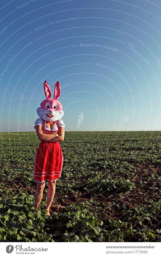 Oktoberfest - Auf Ihn! rot feminin Kunst Deutschland rosa Feld ästhetisch warten Ohr Tradition Hase & Kaninchen Bayern Kunstwerk Tracht verschränkt