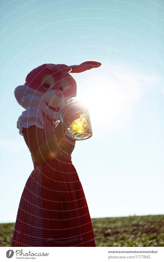 Oktoberfest - Zwinker Kunst Kunstwerk ästhetisch Bier Biergarten Bierglas Bierschaum Bierkrug Trachtenkleid rot Kleid Hase & Kaninchen Kostüm Tradition
