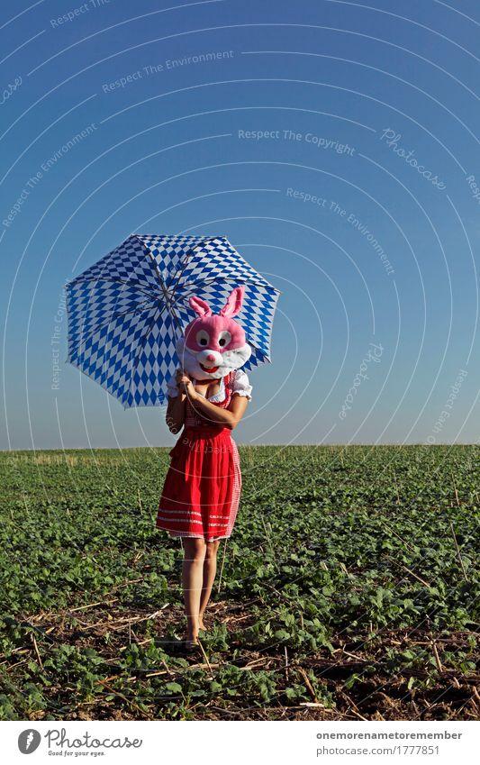 Oktoberfest - Auf Ihn! Lifestyle Kreativität Surrealismus Hase & Kaninchen Trachtenkleid Regenschirm Schirm Muster Bayern Kitsch laufen Feld Kleid rot blau weiß