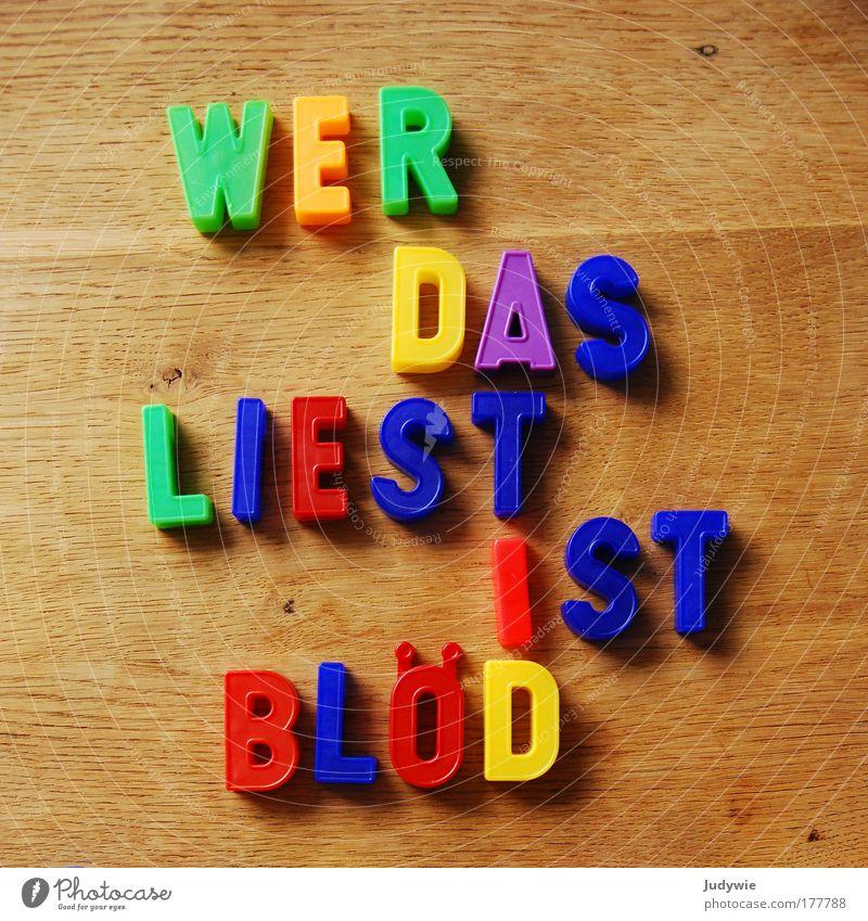 Einfach BLÖD Farbfoto mehrfarbig Innenaufnahme Menschenleer Spielen lesen Tisch Kindererziehung Bildung Kindergarten Schule lernen Kindheit Buchstaben Magnet