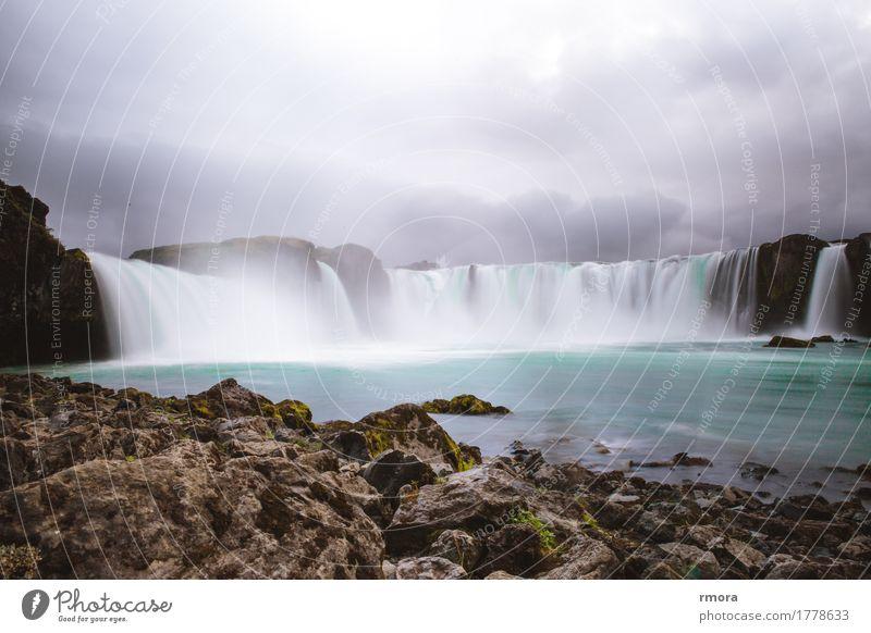 Góðafoss Wasserfall Godafoss Island Bárðardalur Sprengisandur Umgehungsstraße Schottisches Hochlandrind Niagara Fälle Insel Moos Felsen Fluss Erde türkis