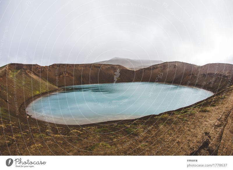 Krafla Umwelt Natur Erde Wasser Vulkan Island Teich Mývatn Stadtrand exotisch fantastisch nackt braun türkis Farbfoto Außenaufnahme Morgen Weitwinkel