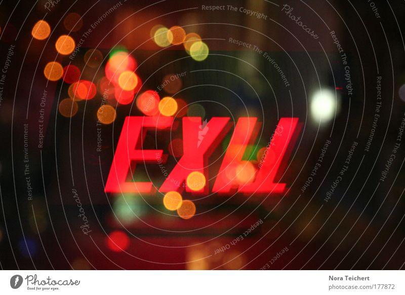 --- EXIT --- schön rot schwarz Einsamkeit Haus gelb Fenster Wege & Pfade träumen Stimmung Glas Design Hochhaus verrückt gefährlich Schriftzeichen