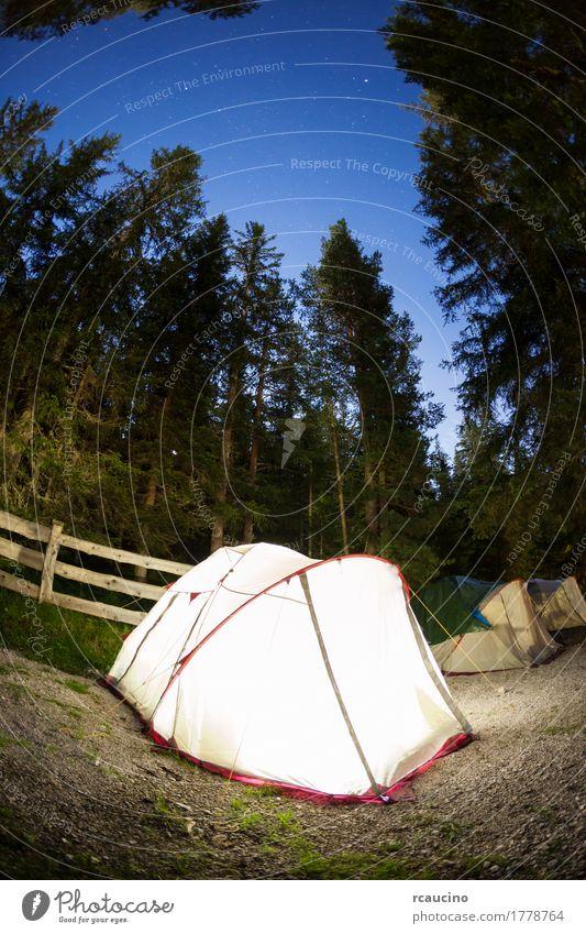 Abend beleuchtetes Zelt beim Campen schön Erholung Freizeit & Hobby Ferien & Urlaub & Reisen Tourismus Ausflug Abenteuer Expedition Camping Sommer