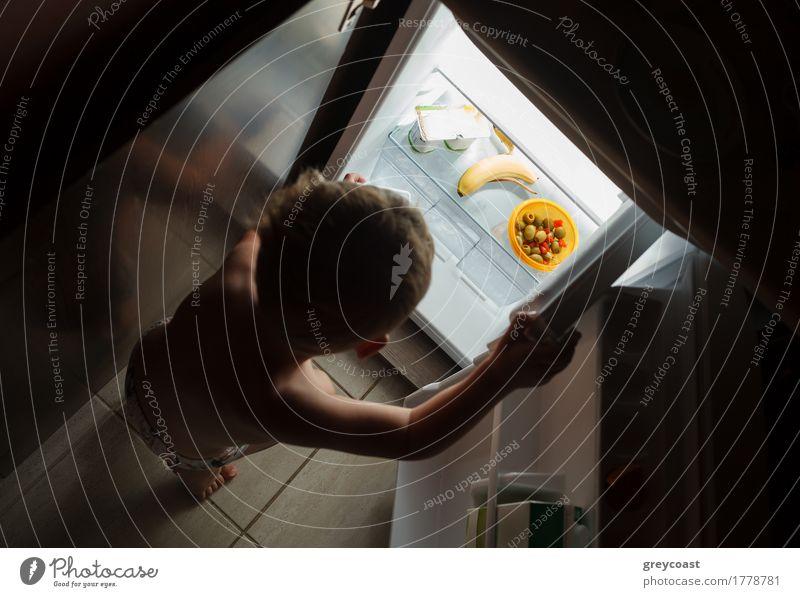 Kleiner hungriger Junge in der Nacht auf der Suche nach etwas Leckerem im offenen Kühlschrank Kind 1 Mensch 1-3 Jahre Kleinkind blond dunkel klein Mut