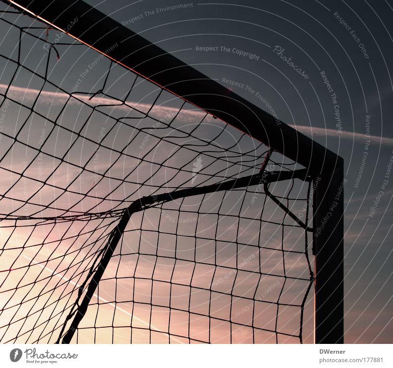 Fußballtor im Abendhimmel Leben harmonisch Freizeit & Hobby Spielen Sommer Sport Ballsport Sportler Torwart Fußballplatz Himmel Nachthimmel Sonnenlicht glänzend