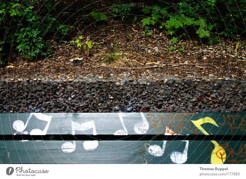 Musiknoten Natur weiß grün Pflanze gelb Graffiti Zeichen Kunst Lied Parkbank Musik hören