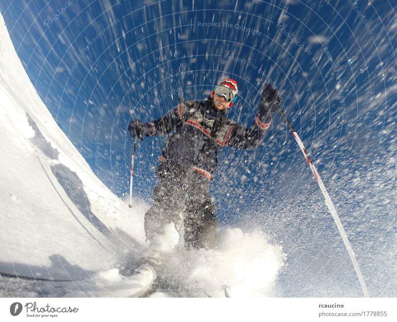 Himmel Natur Ferien & Urlaub & Reisen Mann blau weiß Freude Winter Berge u. Gebirge Erwachsene Sport Lifestyle Schnee Freizeit & Hobby frei Kraft