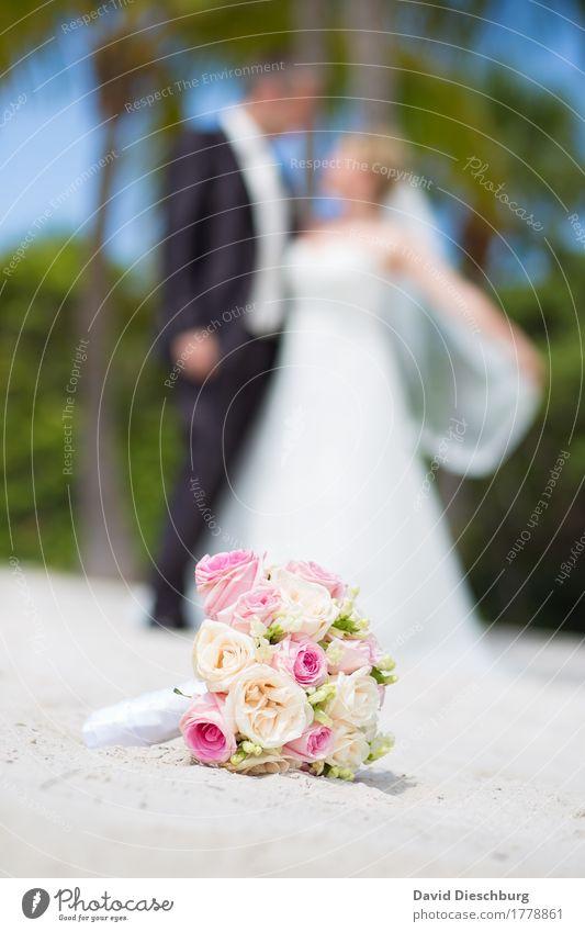 Strandhochzeit Ferien & Urlaub & Reisen Sommerurlaub Meer Hochzeit maskulin feminin Paar Partner 2 Mensch Glück Fröhlichkeit Zufriedenheit Zusammensein Liebe